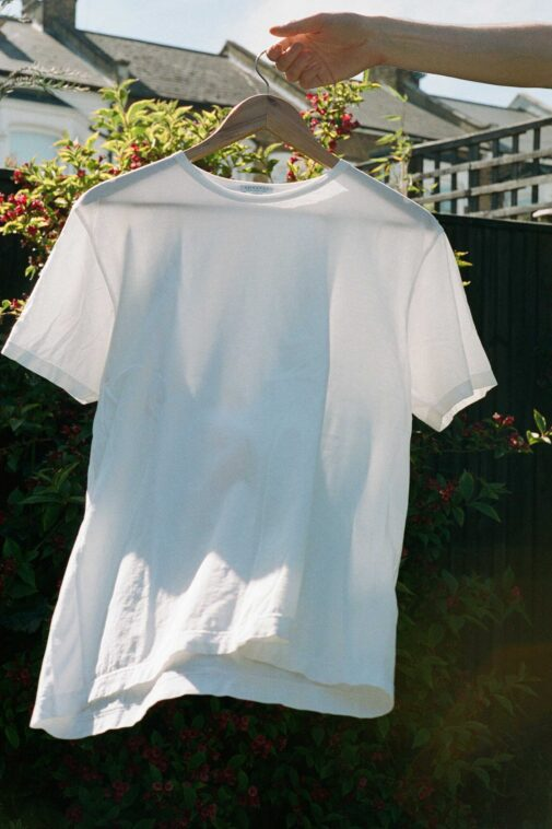 Sunspel Classic Cotton t-shirt. Our runner-up pick for best plain, white t-shirt.