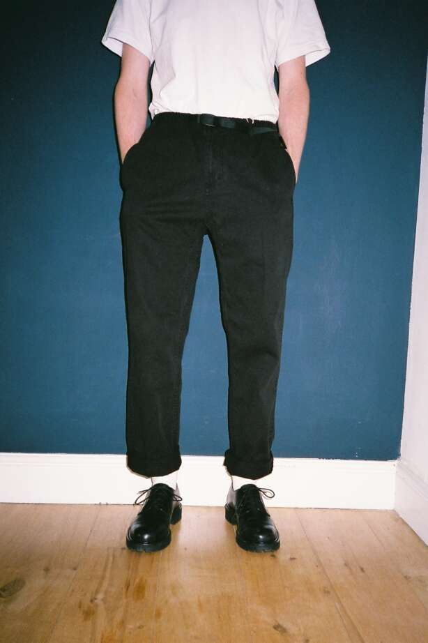 Front of the Gramicci pants in black. Our review pick for the best comfortable pants for men.